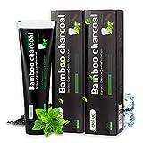 2 Piezas Dentífrico natural premium blanqueador de dientes con carbón activado de bambú– Sabor mentolado – Dentífrico sin fluoruro