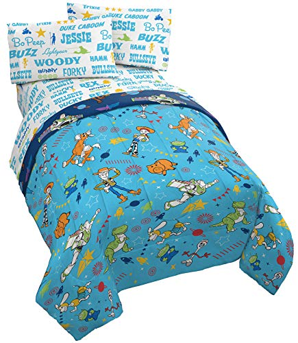 Jay Franco Disney Pixar Toy Story Playtime 4 Piece Twin Bed Set - Includes Reversible Comforter, Pillow Cover & Sheet Set Bedding - Super Soft Fade Resistant Microfiber (Official Disney Pixar Product)