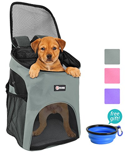 Pawsse Pet Carrier Backpack for Small Cats Dogs Rabbit, Breathable Mesh Pup Pack Outdoor Travel Carrier for Walk, Hiking, Cycling Grey