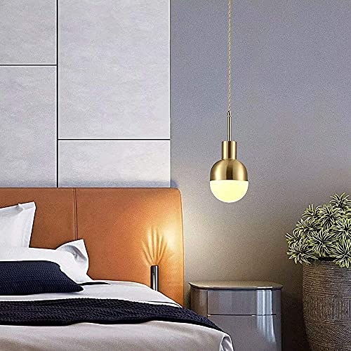 Candelabro de pantalla de bola de cristal con luz colgante pequeña de cobre creativo con portalámparas E27, barra de dormitorio retro, cafetería, restaurante, lámpara de...