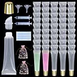 50Pcs 15 ML Gold Cap Empty Lip Gloss Tubes, Clear Lipgloss Squeeze Tubes With free Labels Stickers+20ml Syringe+Funnel+Gift Bags, for DIY Lip Gloss Balm Cosmetic (Gold top x 50pcs)