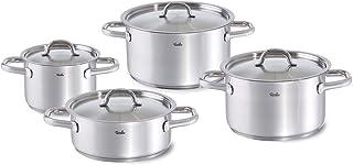 Fissler family line / Juego de ollas de acero inoxidable, compuesto por 4piezas (3 ollas de cocción, 1 rustidera) con tapaderas, lavable en el lavavajillas y apto para inducción