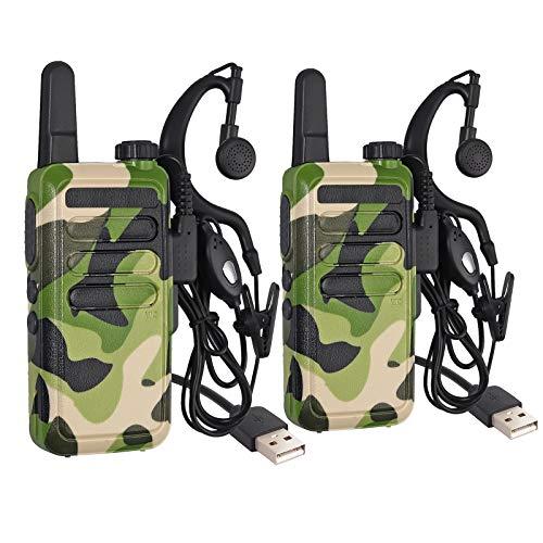 Walkie Talkie Recargable Radios Bidireccionales 16 Canales CTCSS/DTS VOX PMR446 Juguetes para Niños con Auriculares Carga USB para Aire Libre Campo Bicicleta y Senderismo (Camuflaje, 2 Piezas)