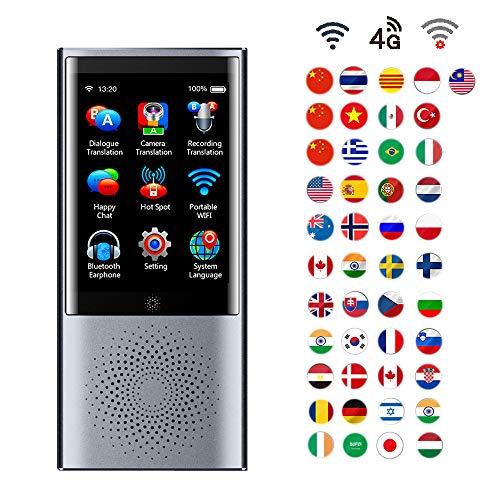 AI Intelligent Übersetzer Tragbar Sprache Übersetzung Gerät Unterstützt 4G Netzwerk, Kamera Tonaufnahme und Offline Übersetzung, 45 Sprachen Echtzeit Gleichzeitig für Reisen