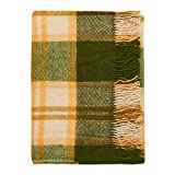 Cozy Blankets 100% New Zealand Wool Blanket Avocado Toast, Green and Yellow, Twin Size, Perfect for Home and Outdoors
