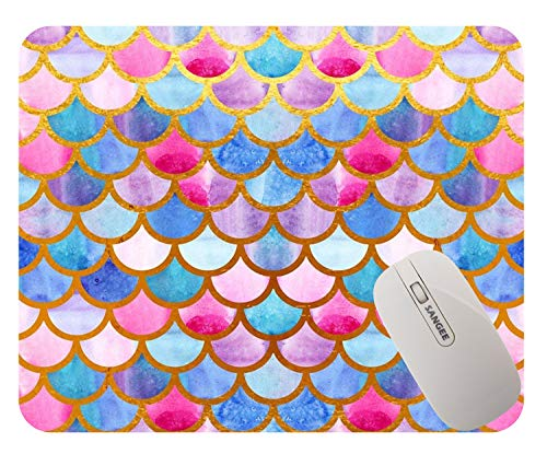 Banatree Mermaid Scales Mouse Pad Custom for Girls,Watercolor Fish Scales Personalized Design Non-Slip Rubber Mousepad