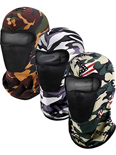 3 Pieces Balaclava Face Mask Motorcycle Mask Windproof Camouflage Fishing Cap Face Cover for Sun Dust Protection (Color Set 1)