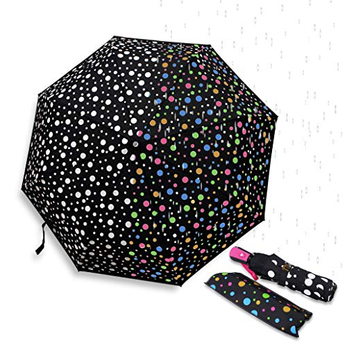 Color Changing Umbrella with Cute Polka Dots Pattern Automatic Open Close Button Portable Light Weight Windproof Good Gift for her B11997 (Random)
