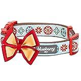 Blueberry Pet 首輪 ヴィンテージ風スノーフレイク 2.5cm 大型犬用 取り外し可能な蝶ネクタイ付き