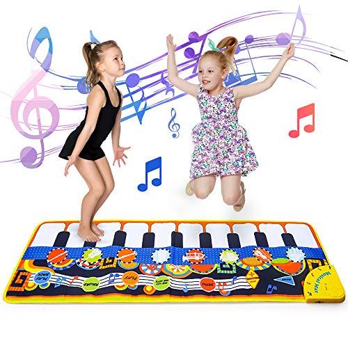 Musikspielzeug Geschenk für 3 Jahre alte Kinder Bildung Spielzeug für Babys Mädchen Jungen Alter 1-6 Kinder Klaviermatte Tragbare musikalische Decke Tanzmatte für 3 4 5 Jahre alte Kinder Geschenk