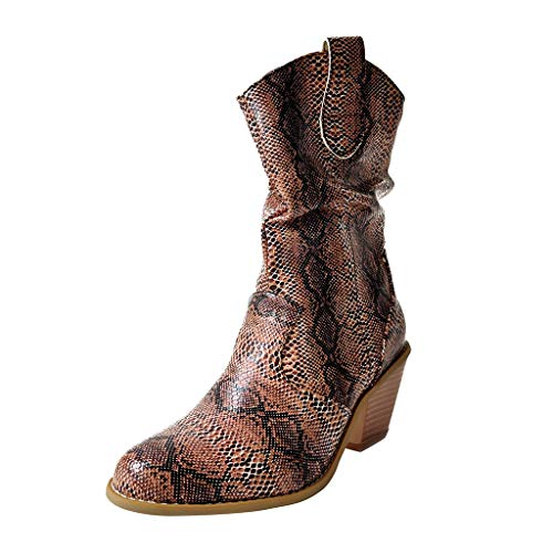 SuperSU-Stiefel Damen Retro Klassiker Leopard Stiefeletten Casual Fersenstiefel,Frauen Mode High Heel Schuhe Große Größen Bankettstiefel Pointed Toe Blockabsatz Stiefel 35-43