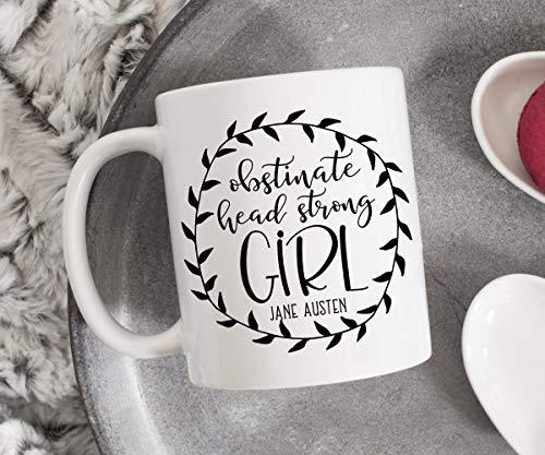 N\A Obstinada Chica testaruda Jane Austen Taza de café Taza de cerámica Taza literaria Regalo de Mejor Amigo Taza Feminista Cita de Orgullo y prejuicio
