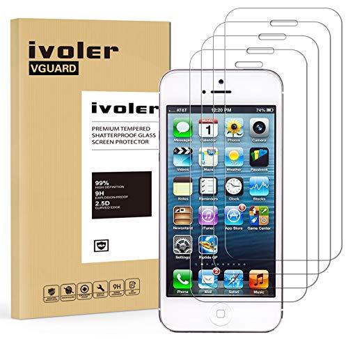 ivoler [Lot de 4] Verre Trempé pour iPhone Se / 5S / 5 / 5C [Garantie à Vie], Film Protection en Verre trempé écran Protecteur pour iPhone 5C / 5 / 5S / Se - Transparente