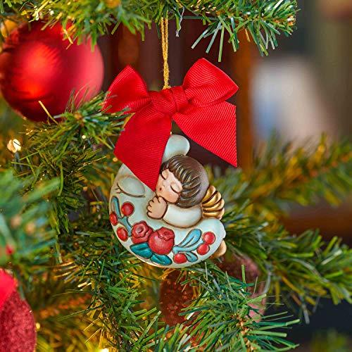 THUN - Addobbo Angelo con Luna per Albero di Natale - Formato Grande - Ceramica - Linea Preludio d'inverno - 6,5x6x4,6 cm