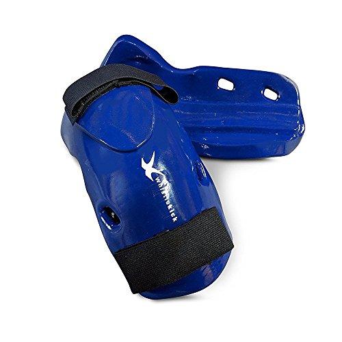 whistlekick Martial Arts Forearm & Elbow Guard for Karate, Taekwondo & Kickboxing - with Warranty (Arctic Blue, Medium)