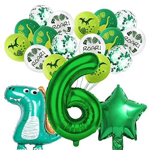 Dino Luftballons Geburtstag 6 Jahr, Kindergeburtstag Deko Dinosaurier und Folienballons Dinosaurier für Kindergarten Dekoration Urwald Party Geburtstag Junge