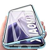 Hülle kompatibel mit Xiaomi Mi 11 Magnetische Adsorption 2 in 1 Stoßfest Hülle 360 Grad Schutzhülle Metall mit Gehärtetes Glas Flip Hülle - Blau
