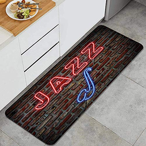 Waschbarer Küchenteppich,Musikbild von Alluring Neon All Jazz Sign mit Saxophoninstrument auf Backstein,Rutschfester weicher superabsorbierender Matten-Teppich für Küchentür Badezimmer 47.2