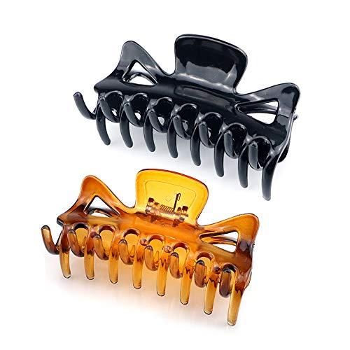 Ealicere 2 Stück Kunststoff Klaue Clips, Rutschfeste Haarnadel haargreifer Dicke Haare Klaue Klammern Für Frauen Schwarz und Braun