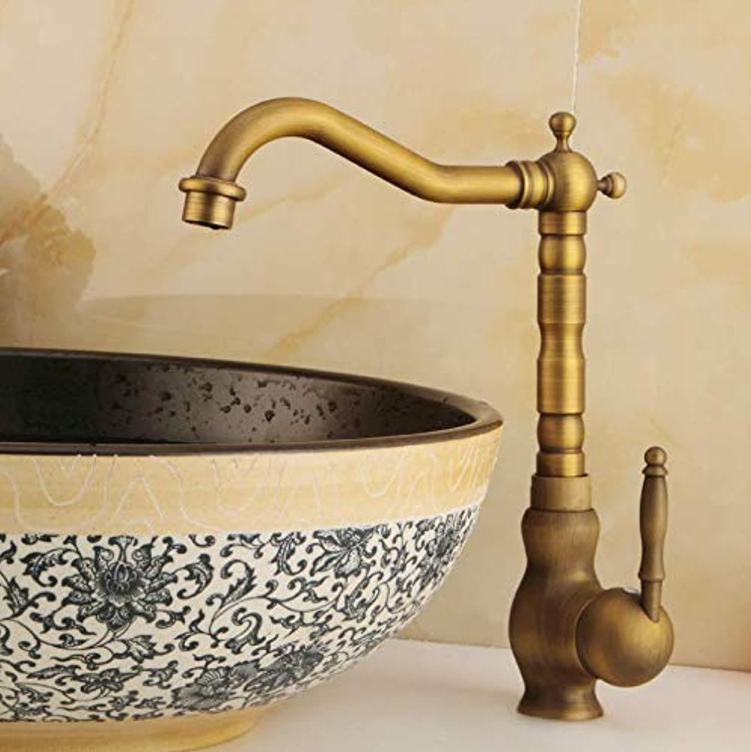 Dwthh Brass Basin Faucet Heightening Bathroom Faucet Hot and Cold Faucets Mixer Ceramic Carved Handle Taps