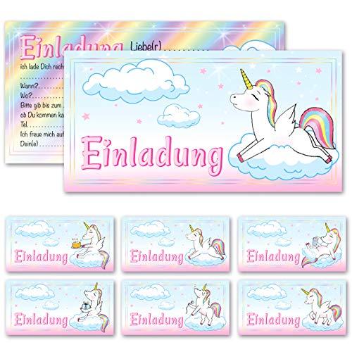 Any Age Art Einhorn 12 Einladungskarten - 6 Motive Kindergeburtstag Einladungen Kinder Mädchen Geburtstag Karten Feier Party Unicorn Pferd (12 Einladungskarten)