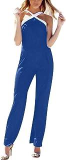 女性のセクシーなジャンプスーツ欠けているショルダーカラーマッチングウエストジャンプスーツ
