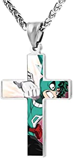 Couple Zinc Alloy Chain Cross Necklace-IRO My_Hero Game Boys Pendant Jesus Prayer Christian 24 Inch