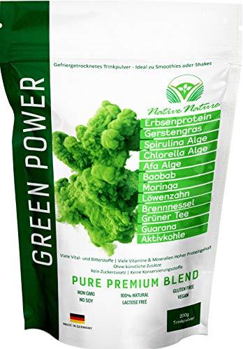 GREEN POWER - Superfood Mix mit Löwenzahn, Brennnessel, CHLORELLA, SPIRULINA, AFA Alge, Moringa, Grüner Tee, uvm. | 200 Gramm | Zur Fastenkur oder als Smoothie - 100% natürlich