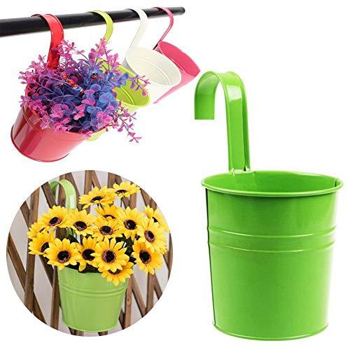 Vi.yo, vaso portafiori a forma di secchio da appendere alla parete, in ferro e metallo, per giardino e balcone, Green, 10*10*15.5CM