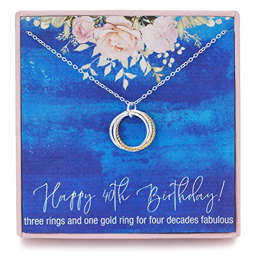 RareLove 40th Birthday Gift for Women 925 Sterling Silver Four Circle Rings Pendant Necklace for Her Chain Adjust from 17' to 19' Extender