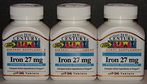21st Century Iron 27mg Ferrous Gluconate (Compare to Fergon) 100ct Bottle -3 Pack (3)