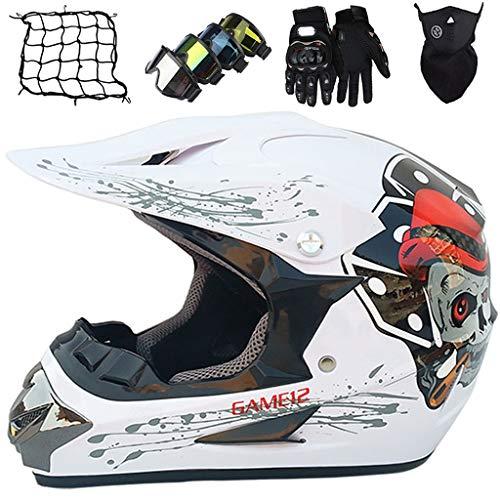 Casco de Moto Niños S(52~53cm) Conjunto de Casco de Motocross Integral para Jóvenes & Adultos M~XL (54~59cm) con Guantes/Gafas/Máscara/Red de Bungy (5 piezas) - Cráneo Blanco Brillante