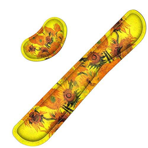 Meffort Inc Gaming Keyboard Wrist Pad & Mouse Wrist Rest Cushion Support Combo Set – Durable Ergonomic Anti Slip Non-Slip Base - Van Gogh Sunflowers