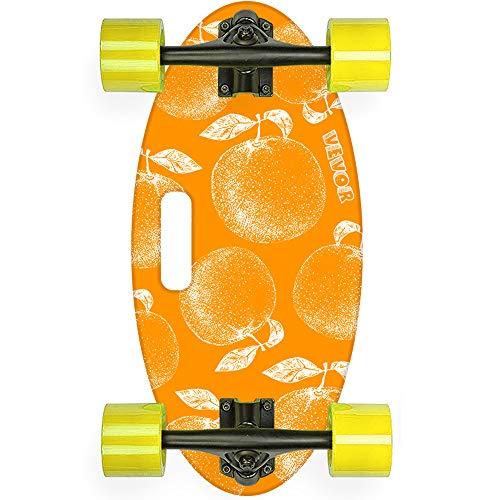 Popsport 19 Inch Longboard Skateboard 440LBS Strong 7 Ply Russian Maple Complete Skateboard Cruiser Skateboard with Handle for Beginners and Pro (Orange Sweet Orange)