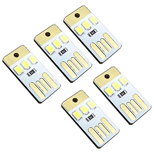 AOZBZ - Pack de 5 lámparas LED mini USB, luz nocturna para ordenador portátil, iluminación de emergencia, iluminación interior