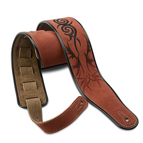 Dulphee Leather Guitar Strap, 2.8 Inches Width Suede Guitar Strap for Bass, Electric guitar and Acoustic Guitar (Brown Tribal)