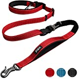 Fida Dog Leash 6 FT Heavy Duty, 6-in-1 Multi-Functional Hands Free Leash, Advanced Easy Hook, Safety Car Seat Belt, Soft Padded Handle, Shock Absorbing Bungee for Training Hiking Jogging (Red)