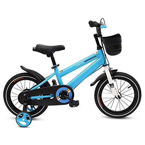 LUO Fahrrad, Kinderfahrräder, Kinderfahrrad Kinderwagen Freestyle Kinderfahrrad, verstellbarer Sitz und Griff 12-14-16-18-Zoll-Räder, 3 Farben für Neugeborene erhältlich,Blau,14 Zoll