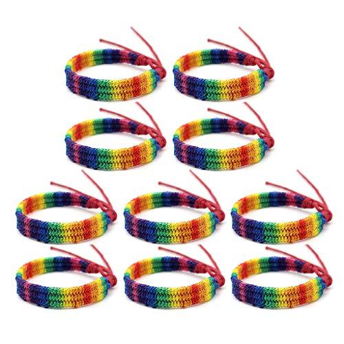 CHENGSE Pulsera de Orgullo, 10 Piezas de Arco Iris Amor Orgullo Pulsera de Amistad Gay y Lesbiana Joyería Ajustable - Rojo