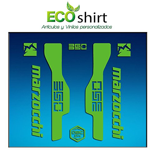 Ecoshirt TJ-C0W5-XJB7 Aufkleber Gabel Fork Marzocchi 350 Am32 Sticker Decals Sticker Bike BTT MTB Cycle, Grün 29 Zoll