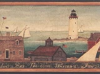 Lighthouse Harbor Whaler's Inn Wallpaper Border…