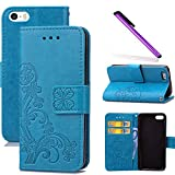 COTDINFOR iPhone 5C Funda trébol Cierre Magnético Billetera con Tapa para Tarjetas de Cárcasa Elegante Retro Suave PU Cuero Caso Protectora Case para iPhone 5C Clover Blue SD