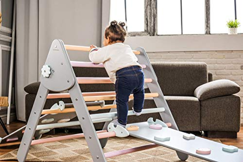 Triangle with ramp Triangle climber triangle ladder Activity gym Toddler furniture Montessori furniture Wood play gym...