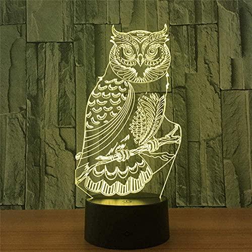 3Dled Owl Spirit Night Light 7 Colores Variable Usb Control Táctil Regalo Para Niños Guisantes Decoración Luces De Dormitorio 7 Colores