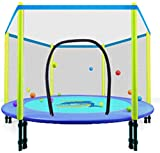 AWJ Indoor Kids Trampoline, Folding Trampoline with Enclosure Net Safety Exercise Trampoline for Kids Adults