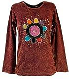 Guru-Shop Goa Langarmshirt Stonewash, Damen, Rostrot, Baumwolle, Size:M (38), Pullover, Longsleeves & Sweatshirts Alternative Bekleidung