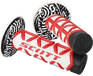 Scott Red White Diamond and Donuts Handlebar Hand Grips Fits Honda Cr80 Cr85 Cr125 Cr250 Cr500 Crf250 Crf450 Crf150 Crf230 Crf100 Crf80 Crf70 Xr80 Xr100 Xr200 Xr250 Xr400 Xr600 Xr650 1981-2014