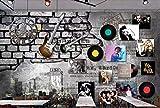 FYBSNDY Papel Tapiz 3D Barra De Pared De Ladrillo De Guitarra Eléctrica Retro Americana Ktv Mural Papel Tapiz De Fondo Para Habitación De Niños-250cmx175cm