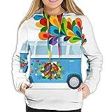 Women's Comfort Print Pullover Music Graphics Hoodies Sweatshirt Hippie Bus