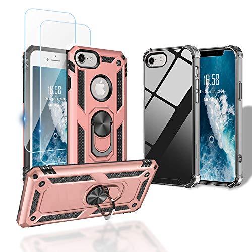 WeiCase [4 Articulos] 2 Funda +2 Packs Cristal Templado para iPhone SE 2020/7/8, Armor Carcasa con 360 Grados Soporte Plegable Antigolpes Case para iPhone SE 2020/7/8